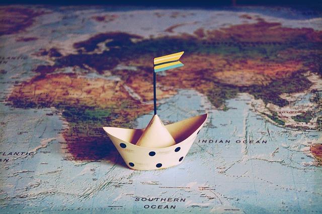 loďka na mapě